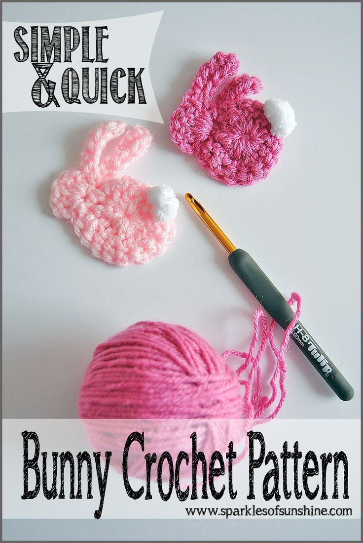 Simple & Quick Bunny Crochet Pattern at Sparkles of Sunshine. Crochet a bunny applique in minutes with these easy to follow pattern!
