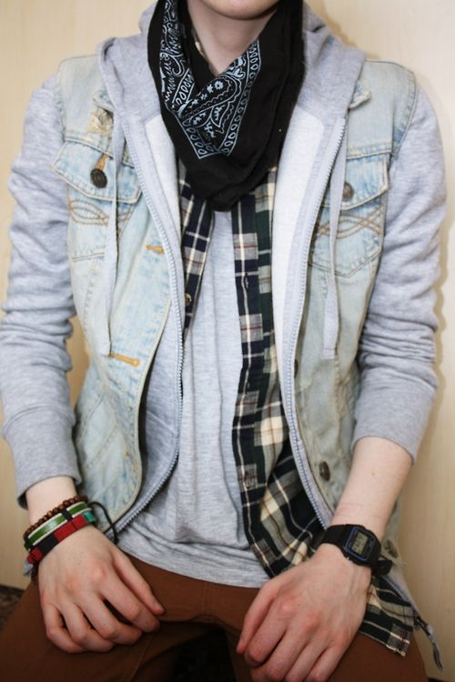 acid washed denim jacket, plaid shirt, hankerchief, hoodie