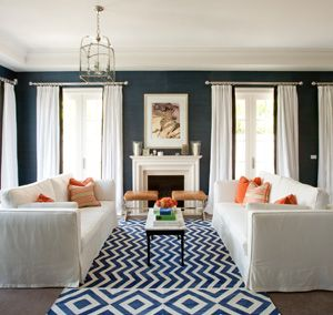Diane Bergeron - navy with orange and white: Wall Colors, Colors Combos, Living Rooms, White Curtains, Blue Wall, Navy Wall, Colors Schemes, Dark Wall, Chevron Rugs