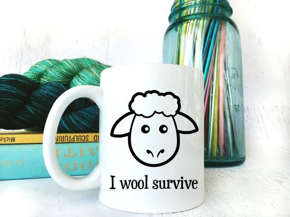 Funny I Wool Survive Coffee Mug for Knitters