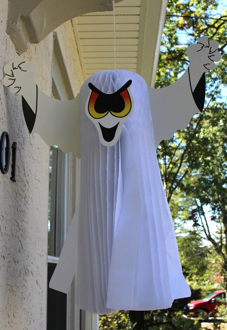 gear up for halloween with this fantastic hanging honeycomb ghost decoration by devra party made