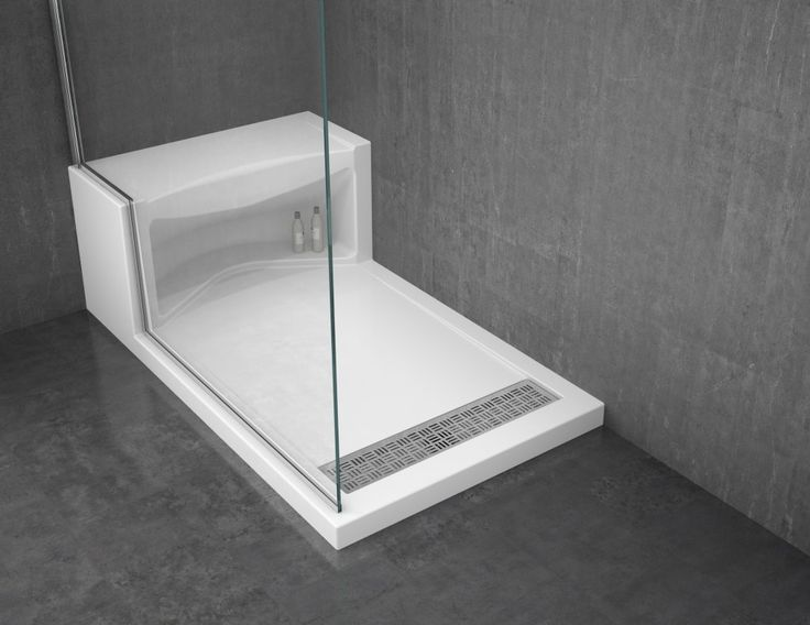 solid surface shower base with seat