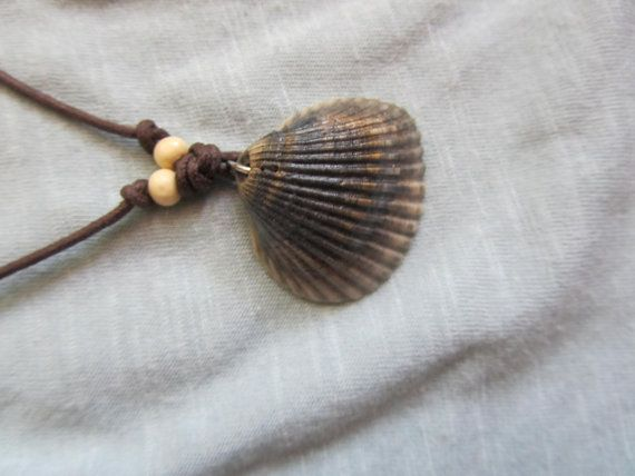 Gray and Brown Sea Shell Necklace with Brown by FruFruDesign, $15.00