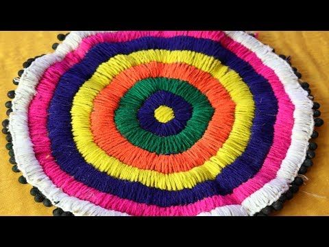 DIY - Beautiful door mat from old clothes | Floor mat with puff flowers | Recycling old t-shirts - YouTube