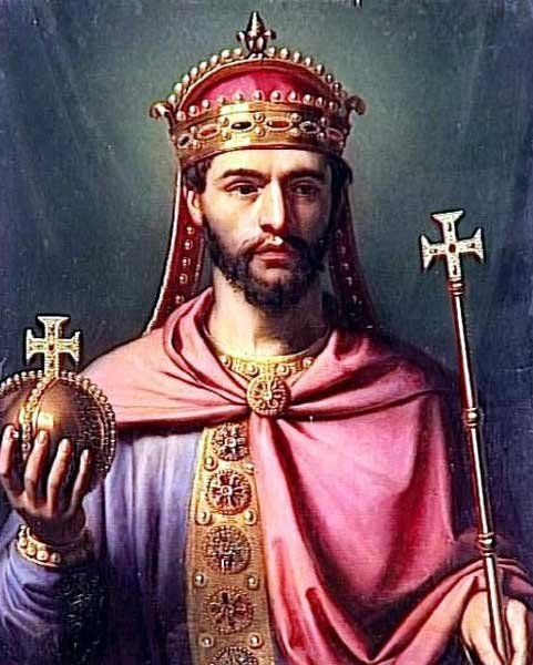 Louis the Pious Carolingian, King of Aquitaine, King of the Franks, Holy Roman Emperor, was born 778 in Chasseneuil, France to Charlemagne (747-814) and Hildegard (758-783) and died 20 June 840 in Ingelheim am Rhein of unspecified causes. He married Ermengarde of Hesbaye (c778-818) circa 794. He married Judith of Bavaria (795-843) 819 in Aachen. Notable ancestors include Charlemagne (747-814). Robin Patterson