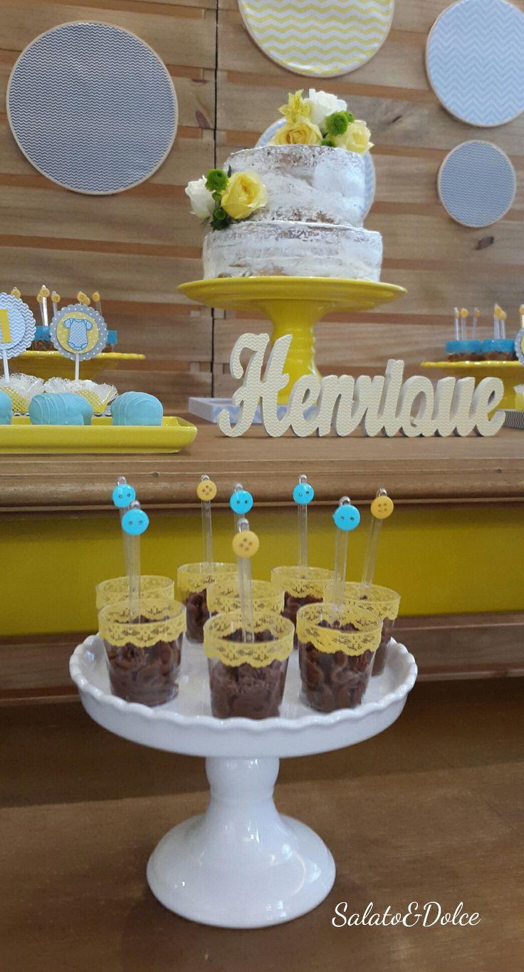 Decoração de Festa Chevron Amarelo, Azul e Cinza