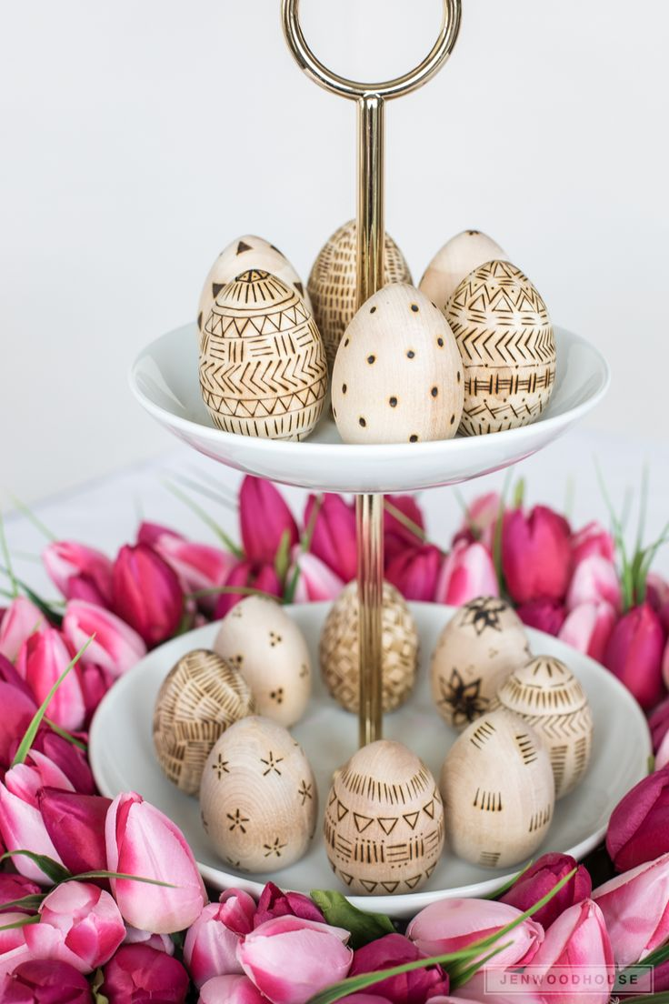 Wood burned Easter eggs
