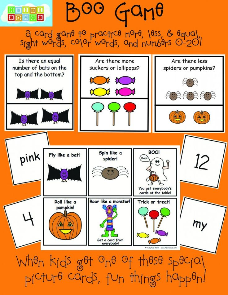 small group card game with a halloween theme to help practice sight words - Halloween Games For Groups