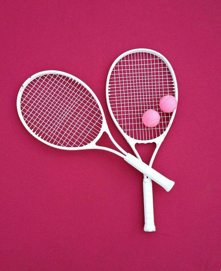 //white tennis rackets and pink tennis balls// | stephanie aes