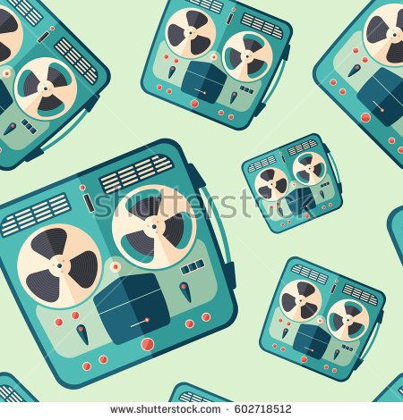 Vintage portable stereo tape recorder flat icon seamless pattern. #retro #retropattern #vectorpattern #patterndesign #seamlesspattern