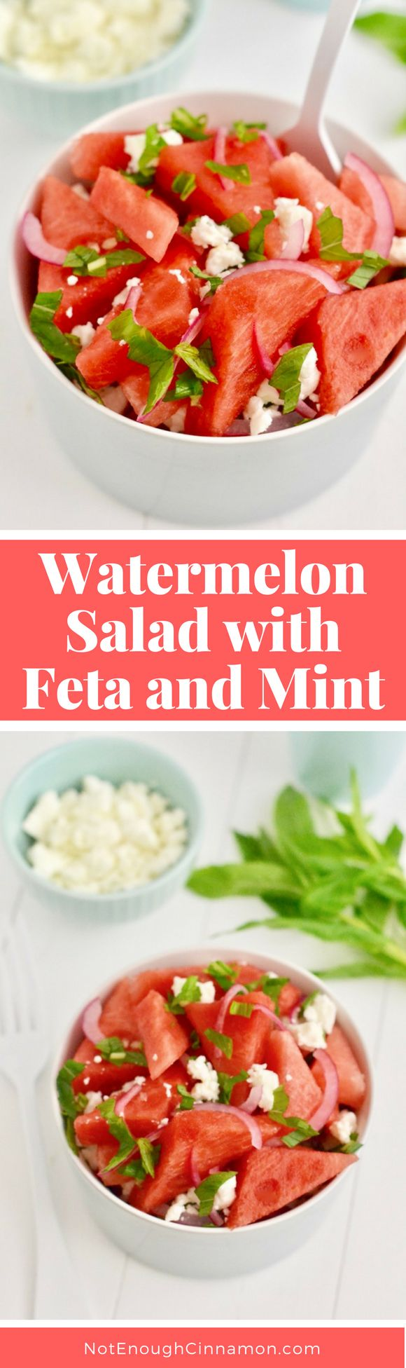 Watermelon Salad with Feta and Mint - Perfect recipe on a hot summer day! – NotEnoughCinnamon.com #vegetarian #healthy