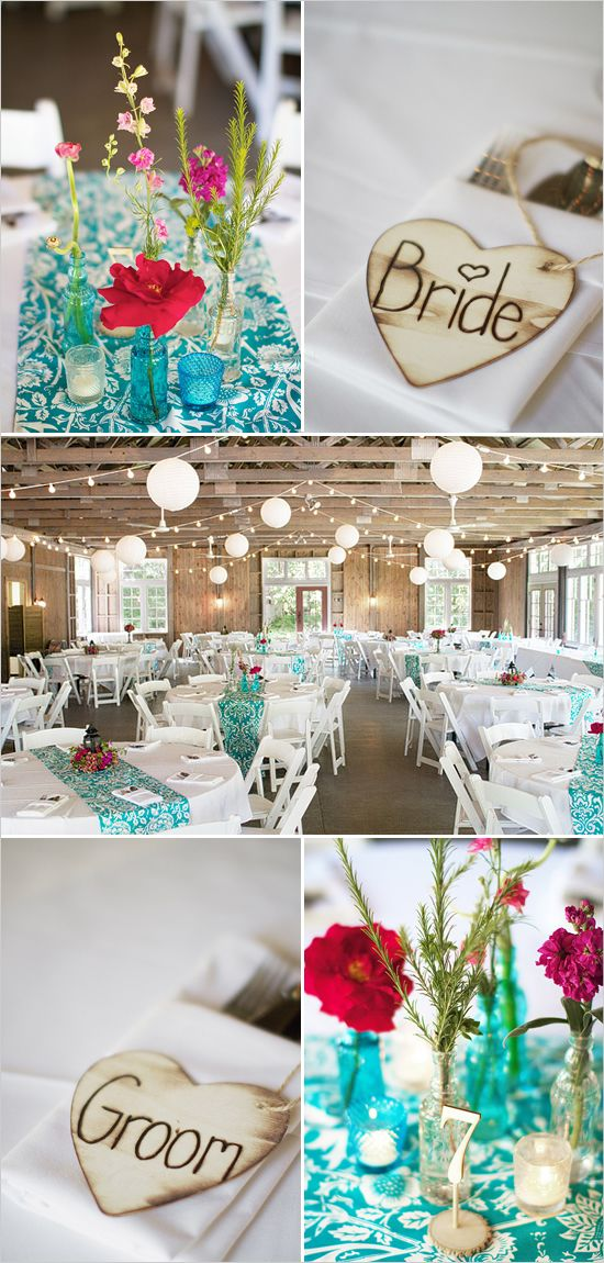 teal and pink wedding ideas