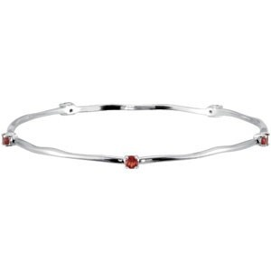 This Sterling Silver Rhodium Plated Bangle Bracelet with Garnet Gemstones is perfect to match bride maid's gowns and serve as bride maid's gifts. This sterling silver rhodium plated bangle bracelet also comes separately with the following gemstones: Mozambique Garnet (red), Blue Sky Topaz (light blue), Peridot (apple green), Amethyst (medium blue) and Citrine (yellow).
