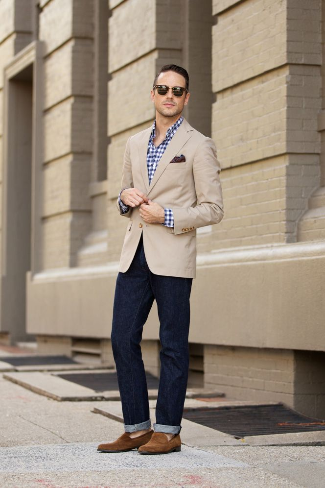 Casual Khaki Blazer - He Spoke Style  Good for day and a night out with the dudes. Invest in brown loafers and a neutral tone button up jacket, also dark jeans.