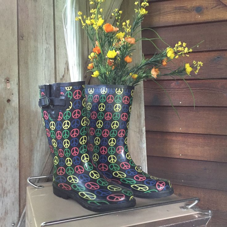A personal favorite from my Etsy shop https://www.etsy.com/listing/521004096/rasolli-peace-symbol-rubber-rain-boots