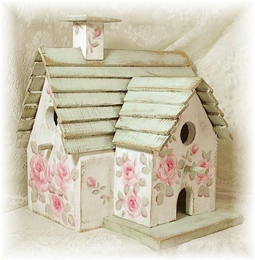 "Shabby Cottage ""3-Unit"" Birdhouse w/HP Pink Roses!"