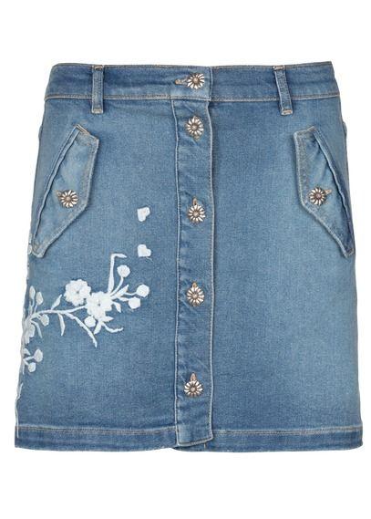 Jupe courte brodée en jean Bleu by THE KOOPLES