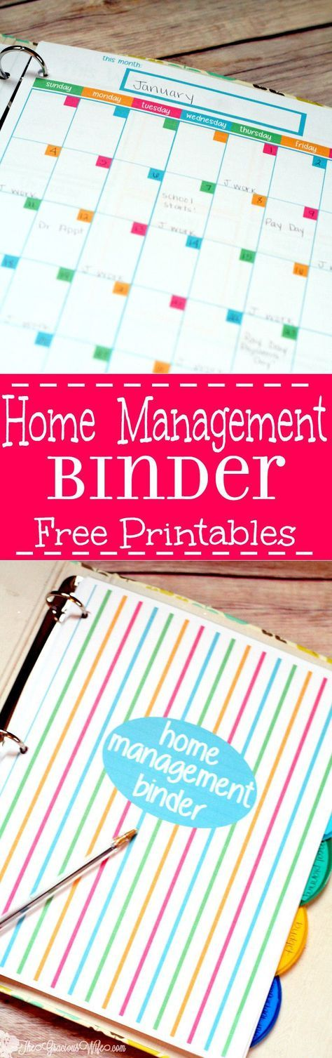 Home Management Binder - FREE Printables! Organize your whole home (and life!) with this DIY Home Manangement Binder. Get free printables and learn how to set up your own Home Management Binder, with 5 different sections including calendars, to-do list, checklists, bill and budget worksheets, meal planning worksheets, and MORE. Love the colors on this too!