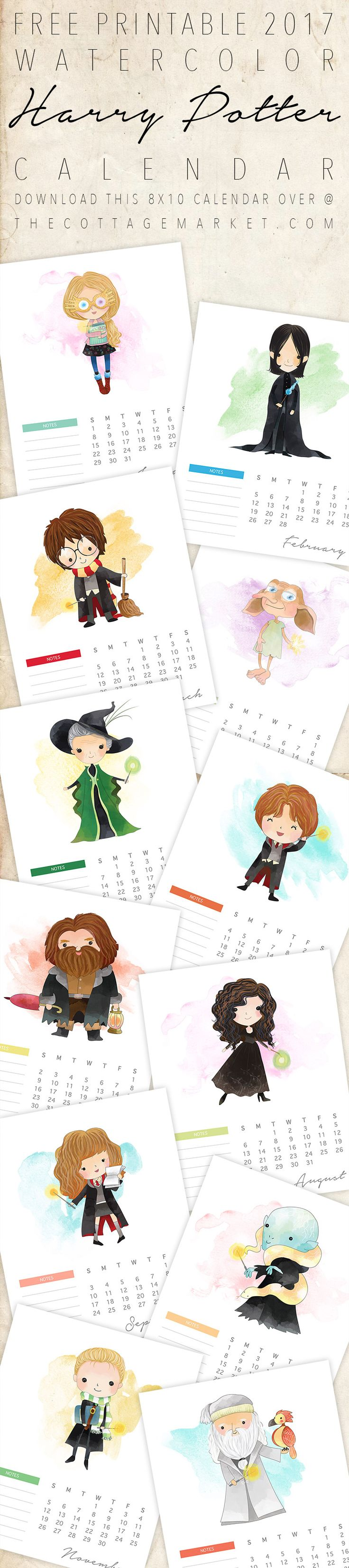 Free Printable Harry Potter Calendar!