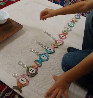 numerals and objects with fish & bubbles
