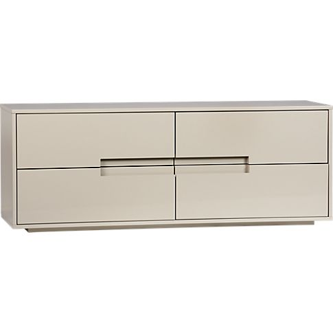 Could Ekby Alex Ikea be turned upside down to look like this? latitude oat low dresser in storage | CB2