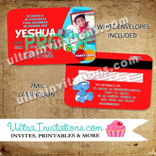 Smurfs Invitation Cards with best invitations sample