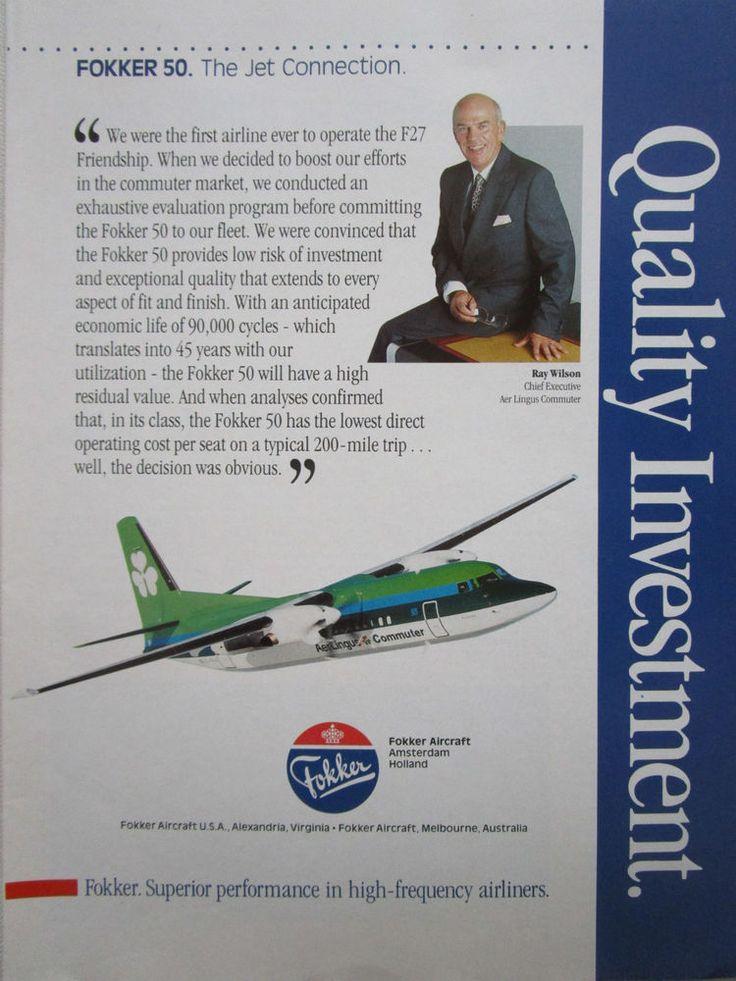 5/1990 PUB FOKKER AIRCRAFT FOKKER 50 AER LINGUS COMMUTER RAY WILSON ORIGINAL AD