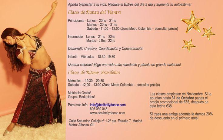 Información sobre clases de baile en Madrid Adulto e Infantil: Danza del Vientre, Ritmos Brasileños, Zumba... www.desibellydance.com