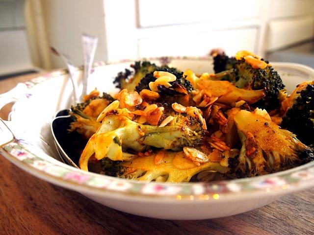 broccoli salad with toasted almonds and smoked paprika vinaigrette
