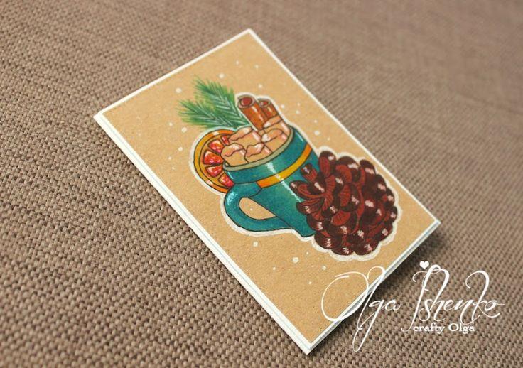 Crafty Olga: Рисованные новогодние крафт-открытки/Hand drawn Christmas cards