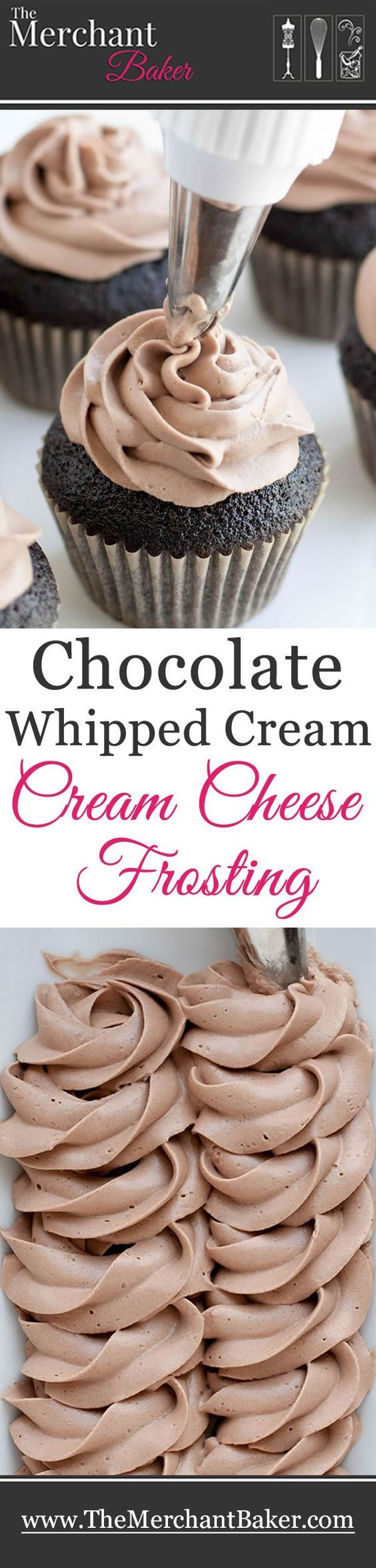 Chocolate Whipped Cream Cream Cheese Frosting. A combination of two favorites, now in chocolate! Wonderfully mellow, creamy and not too sweet! This icing recipe is going to make amazing cupcakes.