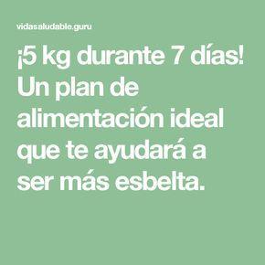 ¡5 kg durante 7 días! Un plan de alimentación ideal que te ayudará a ser más esbelta.