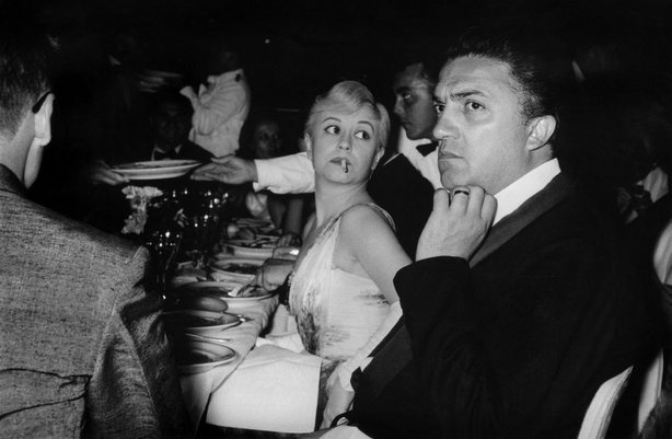 Italian actress Giulietta Masina and her husband, film director Federico Fellini, at the Cannes Film Festival, 1957. Magnum Photos.