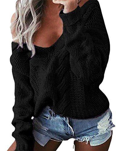 b512448aa3d Fortuning s JDS Sexy Deep V Long Sleeve Knit Sweatshirt Jumper Sweater for  Women