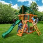 Gorilla Playsets Chateau Tower with Timber Shield and Sunbrella Canvas Forest Green Canopy Cedar Playset 01-0061-TS-2 at The Home Depot - Mobile