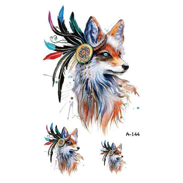Wyuen Hot Design Fox Temporary Tattoo for Women Body Art Animal
