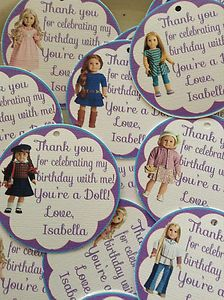 American Girl Doll Party Favor Tags Birthday Party NEW 12 per set