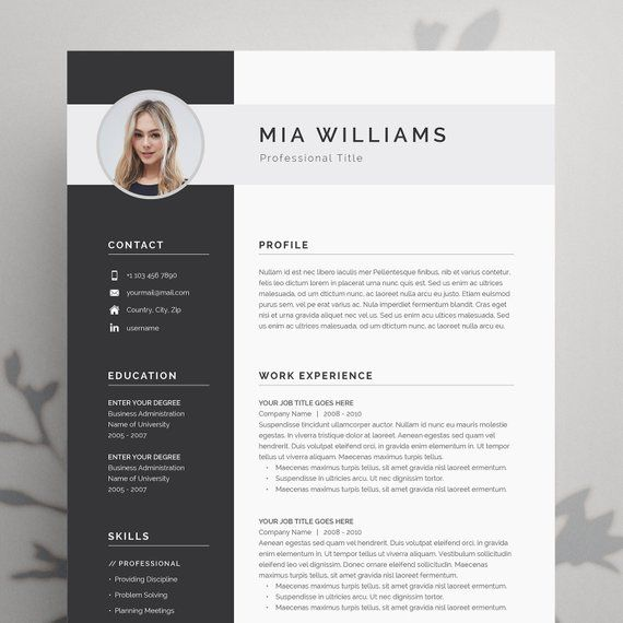 Resume Template Resume Template Word Resume With Photo Etsy