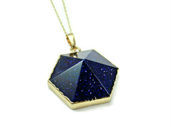 Blue Stone Pendant, Blue Goldstone Necklace, Raw Gemstone Pendant, Gift For Wife Birthday Gift, Womens Necklace, Wife Gift, Blue Sandstone  Beautiful blue goldstone hexagon necklace.  This necklace is perfect for those who love geometric and gemstone jewellery. The electroplated