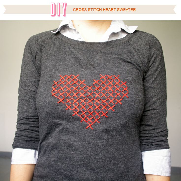 DIY | cross stitch heart sweater