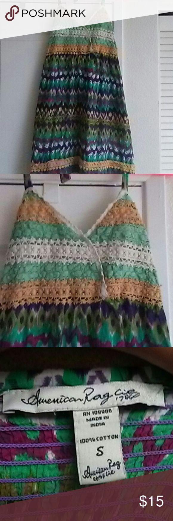 American. Rag halter dreas size. S Very gently used American Rag halter dress multicolored very very cute American Rag Dresses