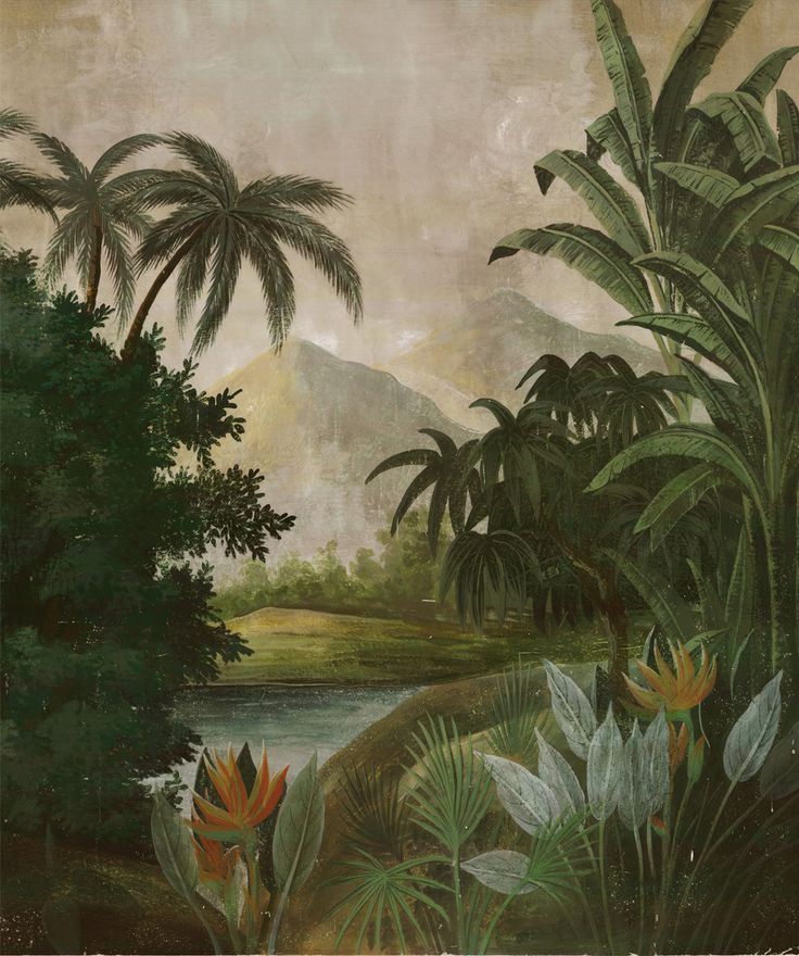 Paysages colorés - Tana couleur L231xH275cm - ultra mat - 3 lés de 77cm