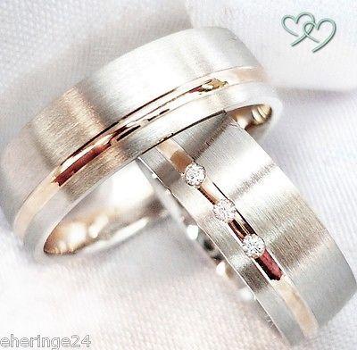 2 Silber 925 Trauringe Eheringe Partnerringe + Diamant + Gravur + Etui TA-44