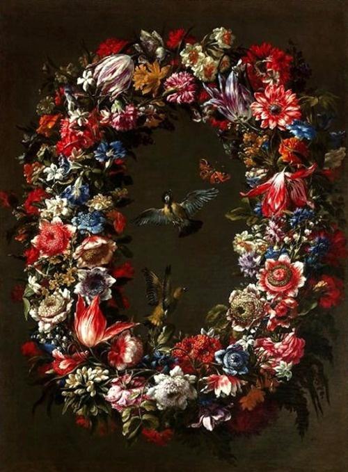Juan de Arellano (1614-1676) –– Garland of Flowers, Birds and Butterflies  (500×679)