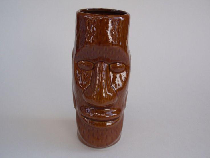 Brown Glazed Ceramic Tiki Glass Tropical Drink Barware Hawaiian Figural Head