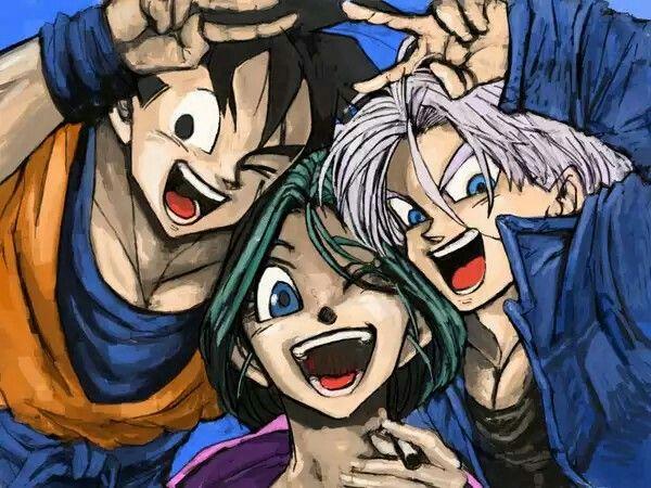 Goku, bulma y trunks del futuro