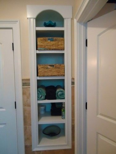 Shelf between studs great hallway storage idea for the for Bathroom built in shelving ideas