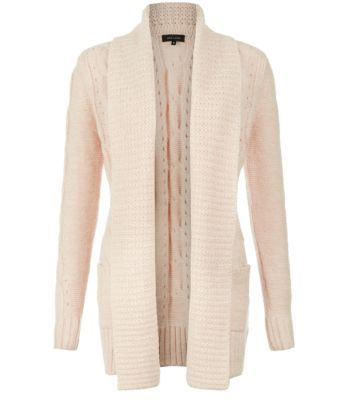 """Invest in a cosy cable knit cardigan for the cold season ahead, wear with classic skinny jeans and layer over a cream cami.- Open front design- Simple long sleeves- Model is 5'8"""" and wears UK 10/EU 38/US 6"""