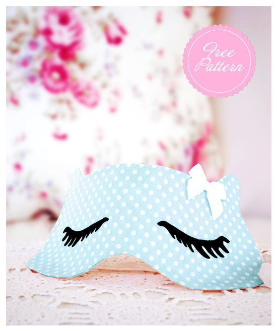DIY Whats New Pussycat Sleep Mask Eyelashes Freebie Free Download pdf Pattern Sewing DIY Project Sew Tutorial Eye Fabric Polka Dot Blue Cat