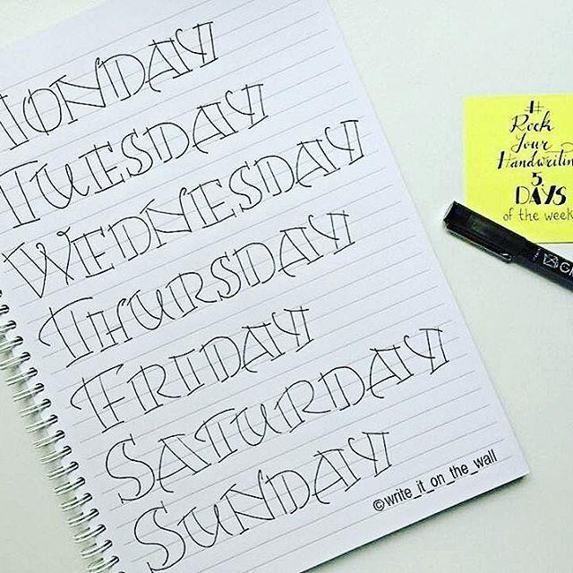 5. days of the week #rockyourhandwriting  #bulletjournal #stationary #stationaryaddict #handlettering #calligraphy #cartopazze #moderncalligraphy #scrapbooking #midori #lettering #font #brushpens #washi #washitape #maskingtape #filoaddict #filofaxgoodies #planner #planning #planneraddict #plannernerds #plannercommunity #plannersupplies #filomaniac #filofax #plannerlove #bulletjournaljunkies #bulletjournalchallenge #bujo